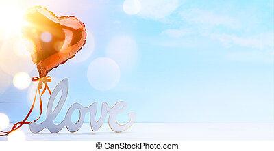 művészet, boldog, valentines, day;, piros, szeret szív