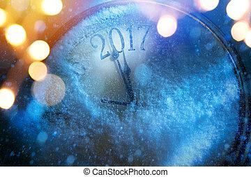 művészet, előest, év, háttér, új, 2017, boldog