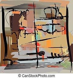 művészet, elvont, modern festmény