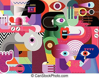 művészet, elvont, vektor, modern, illustration.