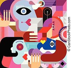 művészet, emberek, elvont, három, ábra, vektor