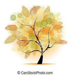 művészet, fa, gyönyörű, helyett, -e, tervezés