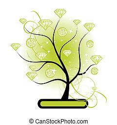 művészet, fa, noha, káró, zöld, helyett, -e, tervezés