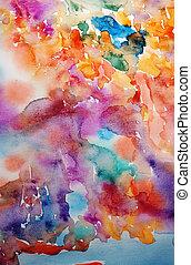 művészet, festett, kéz, vízfestmény, fényes, háttér, scrapbooking