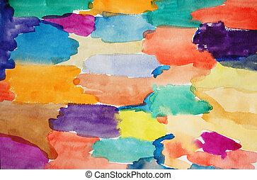 művészet, festett, kéz, vízfestmény, sokszínű, háttér