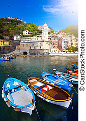 művészet, gyönyörű, olasz, landscape;, cinque terre, lesiklik, közül, olaszország