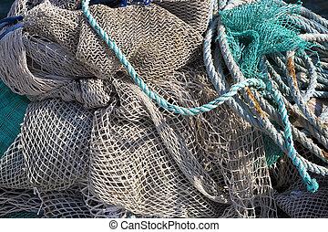művészet, háttér, halászháló, képben látható, a, hajó
