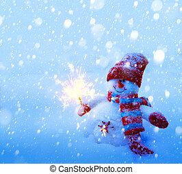 művészet, hóember, karácsonyi üdvözlőlap