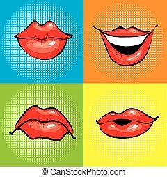 művészet, ikonok, képregény, váratlanul, ajkak, vektor, száj, ábra, tervezés, style., piros, retro