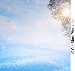 művészet, kék, karácsony, tree;, havas, tél, karácsony, táj