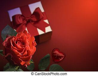művészet, köszönés kártya, noha, piros rózsa, és, szív