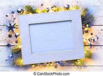 művészet, karácsony, ünnepek, keret