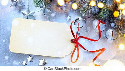 művészet, karácsony, háttér, noha, egy, christmas csillogó, karácsony, csillaggal díszít, bogyók, és, fenyő, alatt, hó