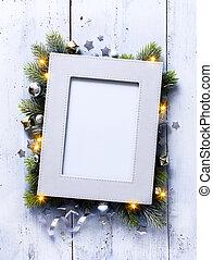 művészet, karácsony, háttér, noha, fenyő, elágazik, és, keret, képben látható, a, öreg, wooden élelmezés, alatt, szüret, mód
