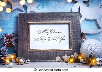 művészet, karácsony, keret, helyett, köszönés kártya, noha, dekoratív, christmas díszít