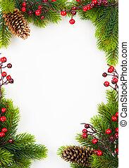 művészet, karácsony, keret, noha, fenyő, és, holly berry