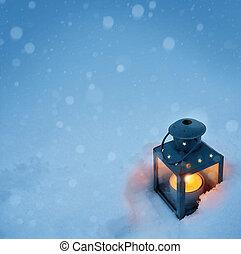 művészet, karácsony, világító, noha, hóesés