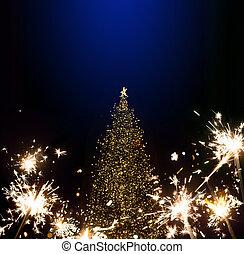 művészet, karácsonyfa, és, ünnepek, fény, háttér