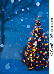 művészet, karácsonyfa, fény