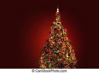 művészet, karácsonyfa, képben látható, piros háttér