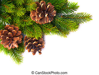 művészet, karácsonyfa, keret