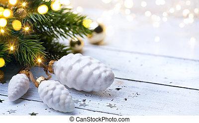 művészet, karácsonyfa, light;