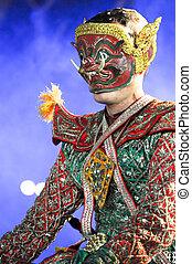 """művészet,  """"khon"""", tánc, táncol, hívott, történelmi,  high-class"""