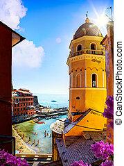 művészet, kilátás, közül, romantikus, kilátás a tengerre, alatt, vernazza, cinque terre, liguria, olaszország, europe.
