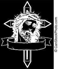 művészet, krisztus, jézus, tervezés, fekete, fej, vektor, ...