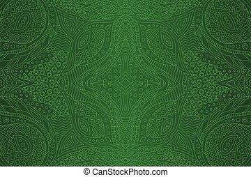 művészet, lineáris, motívum, elvont, seamless, zöld