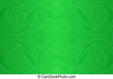 művészet, lineáris, motívum, seamless, zöld csillogó