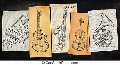művészet, műszerek, zene, háttér