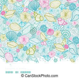 művészet, motívum, seamless, háttér, tengeri kagylók, egyenes, horizontális
