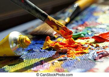 művészet, paletta