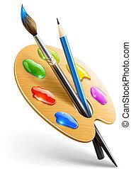 művészet, paletta, noha, ecset, és, ceruza, eszközök,...
