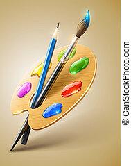 művészet, paletta, noha, ecset, és, ceruza, eszközök, helyett, rajz