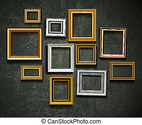 művészet, ph, vector., képkeret, gallery., fénykép