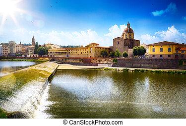művészet, romantikus, kilátás, alatt, florence., italy., toscana;, öreg város