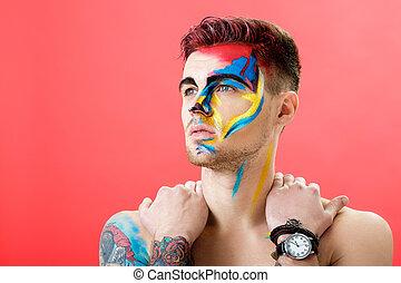 művészet, színezett, háttér., fashion., alkat, fiatal, arc, képzelet, portré, profi, festék, piros, ember
