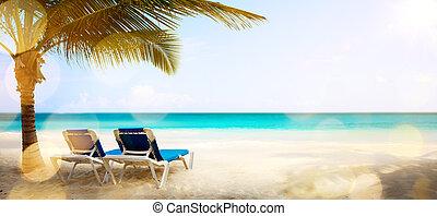 művészet, szünidő, képben látható, a, tenger, háttér