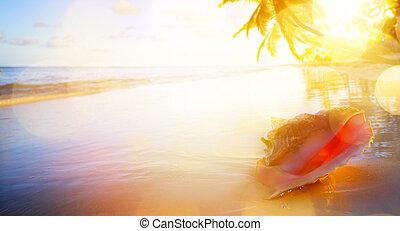 művészet, szünidő, tropikus, napnyugta, background;, tengerpart