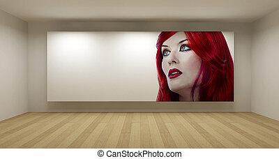 művészet, Szoba, fogalom, fiatal, Ábra, haj, Üres, film, erkély, piros, 3