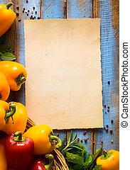 művészet, vegetáriánus táplálék, egészség, vagy, főzés, concept.