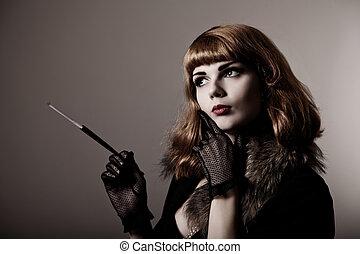művészi, lövés, közül, bájos, retro-woman