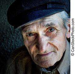 művészi, portré, közül, barátságos, idősebb ember, öregember