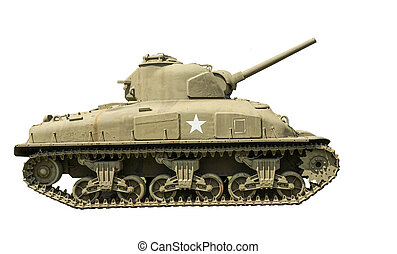 M-4A1 Sherman Tank on a white background.