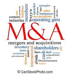 M & A (Mergers and Acquisitions) Word Cloud Concept with...
