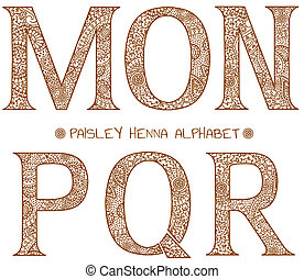 m, alfabet, paisley, henna