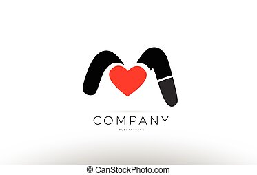 M Alphabet Letter Logo Icon With Love Heart Symbol Company