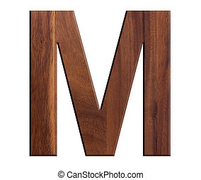 M, alphabet letters wooden on white background